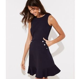 Ann Taylor Navy Pearl Button Pocket Flounce Dress